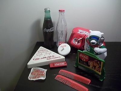 Coke Coca-Cola LOT OF SMALL ITEMS COMBS,SPINNING TOP,BEAN BAG PLUSH,PATCH,GLOVE+