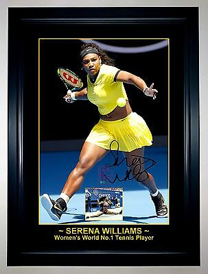 SERENA WILLIAMS WORLD #1 TENNIS PLAYER 2016 A3 Signed Framed Action Photo