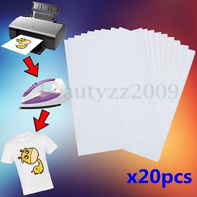 IRON ON T TEE Shirt LIGHT Heat Transfer Paper A4 20 Sheets for inkjet printers