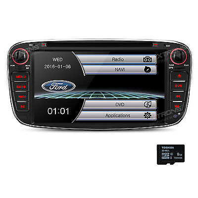 """7"""" In Dash Car DVD Player GPS Stereo Radio Mirror For Ford Focus Mondeo Galaxy"""