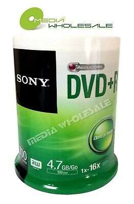 100 SONY Blank DVD+R Plus R Silver Logo Branded 16X 4.7GB Media Disc Spindle