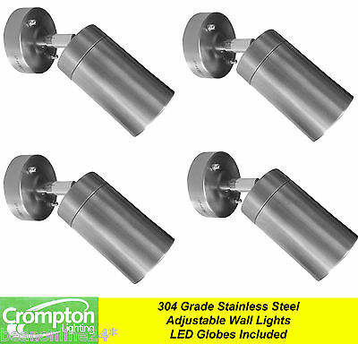 4 Pack x Stainless Steel Adjustable Exterior Wall Light 240V 12W GU10 LED