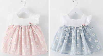 Toddler Baby Girl Clothes Princess Sleeveless Flower Cotton Dress Tutu Outfit