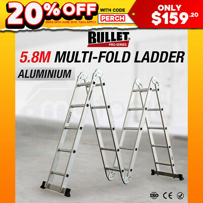 5.8M Bullet Multipurpose Ladder Aluminium Extension Folding Adjustable Step