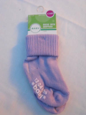 BNWT Girls Cotton Blend Lilac Non Slip Socks 1 to 2 Years