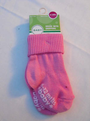 BNWT Girls Cotton Blend Pink Non Slip Socks Age 6 to 12 Months