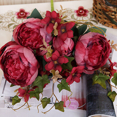 Artificial Silk Peony Fake Flowers Home Garden Wedding Party Bridal Bouquet Deco