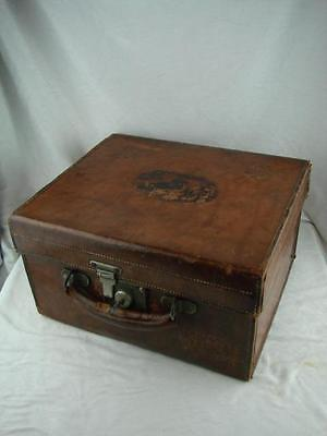 Stunning Victorian Leather Hat Box  + Key By Wheaton & Bennett, Oxford St London