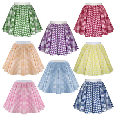 Girls Kids Gingham Skirt -Dorothy, Sound Of Music, Dance, Theatre Costume, Heidi