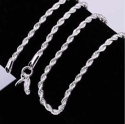 Stunning Sterling Silver 3 mm Silver Rope Chain