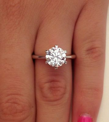 2ct Round Cut Solitaire Diamond Engagement Ring 14K White Real Gold Wedding Ring