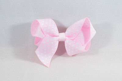 Unit of 10 Medium 3 Inch Baby Pink with Small White spot Hair Bow clip Grosgrain