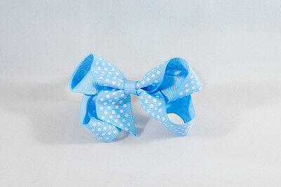 Unit of 10 Medium 3 Inch Baby Blue with Small White spot Hair Bow clip Grosgrain