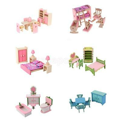 Wooden Dolls House Miniature Accessory Room Furniture Set Kids Pretend Play Toys