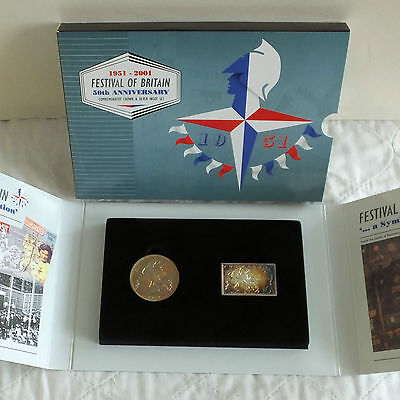 GEORGE VI 1951 FESTIVAL OF BRITAIN CROWN AND SILVER INGOT SET - complete