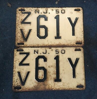 Pair Vintage Cape May County 1950 New Jersey NJ License Plate ZV 61Y