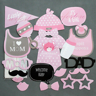 Baby Shower Photo Booth Props New Born Party Decorations Little Lady Girl Pink