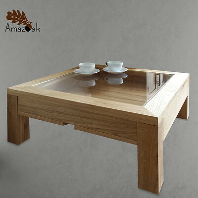 Display Coffee Table Solid Oak Wood Glass Top Uk Handmade With 1 Drawer Amazoak