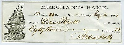 Check- Whaling - 1861 Andrew Hicks Signed Check