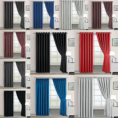 THERMAL BLACKOUT CURTAINS Eyelet Ring Top Curtain OR Pencil Pleat FREE Tie backs
