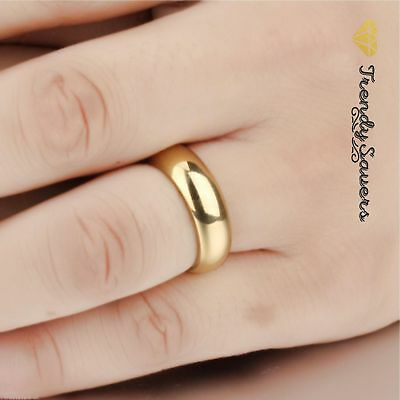 18K Gold Polished Stainless Steel Wedding Engagement Band Rings  Sizes