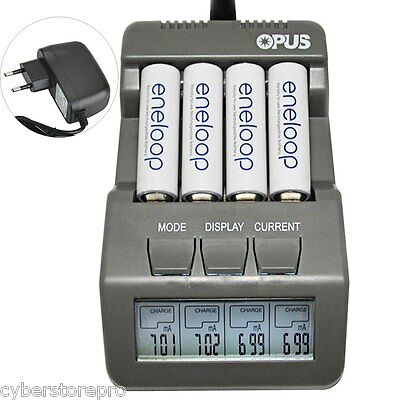 Opus BT-C700 4 Slots Intelligent AA AAA Battery Charger with LCD EU PLUG