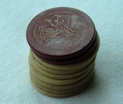 Vintage Antique Clay Poker Chip Lot Poker Hand Holding Cards Red