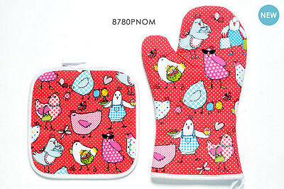 Guanto e Presina con Galline Oven Mitt Glove and Potholder with Hens FOX TROT
