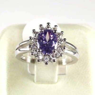 R#10431 Simulated Purple Amethyst gemstone ladies silver ring size 7