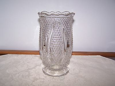 Beautiful Antique Pressed Glass Footed Celery Vase - Cane And Panel Design