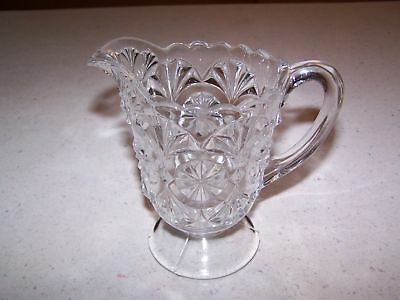 Beautiful Feather Duster Pressed Glass Footed Creamer