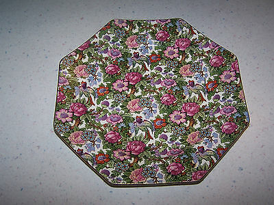 Beautiful Crown Ducal Ware England Ivory Bird Chintz Octagon Shape 8 1/2'' Plate