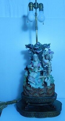 "Antique Figural Couple & Kitten Porcelain Capodimonte and Brass Lamp 32 1/2"" H"