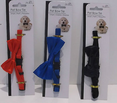 Pet Dog or Cat Dickie Bow Tie Collar Silky Small or Large  Red Blue or Black New