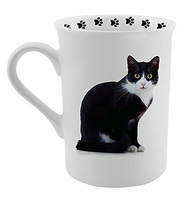 Dimension 9 Tuxedo Cat Coffee Mug, White
