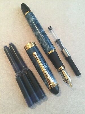 Jinhao X450 Blue Marble Fountain Pen-M Nib-Converter +5  X Cartridges-Uk Seller