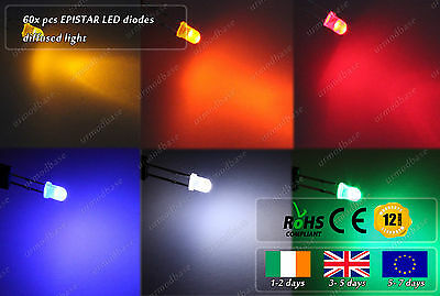60x 3mm Diffused 6 Colors LED Diodes Chips DIY White Blue Red Yellow Green Amber