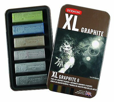 Derwent XL Tinted Graphite Tin of 6 Colour Blocks for Drawing & Sketching