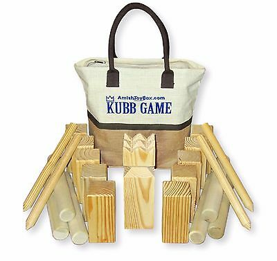 Amish-Made Solid-Wood Kubb Game, Regulation Size