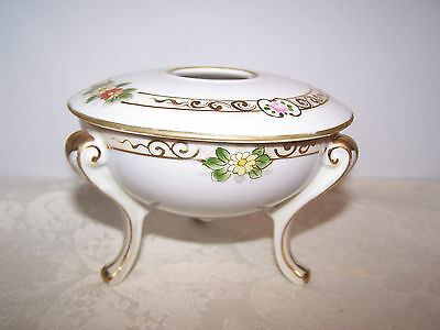 Beautiful Nippon Handpainted Footed Hair Receiver - Art Deco Flying Saucer Shape