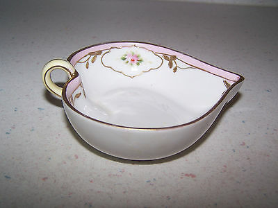 Beautiful Nippon Handpainted Heart Shaped Mint Dish With Open Handle & Gold Trim