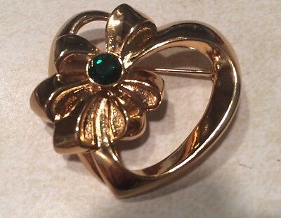 "Vtg. Avon ""pick Your Birthstone"" Heart Pin Nib 1992 May-Simulated Emerald"