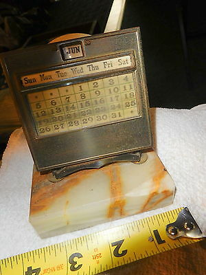 Vintage Brass marble base with brown perpetual calendar,day,date,rare