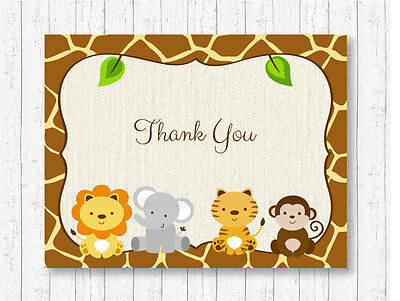 graphic relating to Printable Safari Animals called Adorable JUNGLE SAFARI Pets Gender Impartial Thank On your own Card Printable