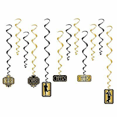 Art Deco GREAT GATSBY 20'S CHEERS ceiling WHIRLS (12 COUNT) Party Decorations