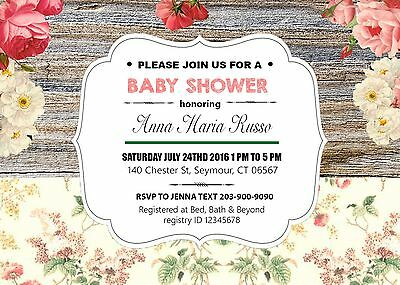 RUSTIC ROSES personalized DYI printable BABY SHOWER INVITATIONS GIRL