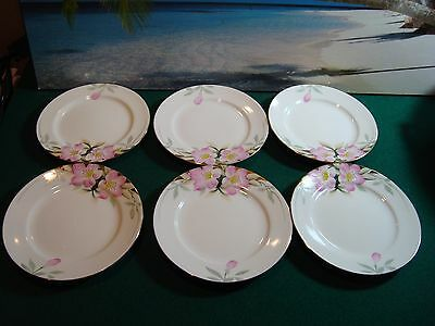 "LOT OF 6 NORITAKE' AZALEA CHINA No. 8 - 6 1/2"" PLATE (BREAD & BUTTER - Red Stamp"