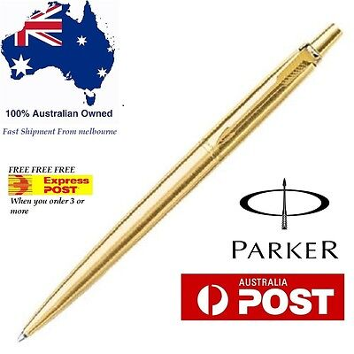 Parker Jotter Gold GT Ball point Pen Gold Trim Ballpoint New Blue Ink fast Ship
