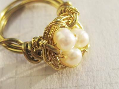 Birds Nest Gold tone RING with Freshwater pearls can custom make