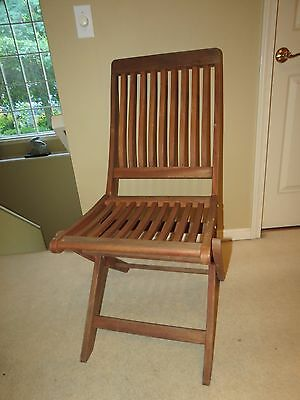 Vintage Solid Teak Wooden Folding Chair With Slat Seat & Back & Brass Hardware
